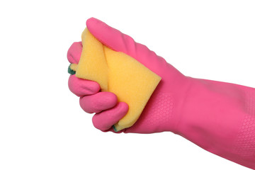 Cleaning equipment, hand in glove squeezing sponge, isolated