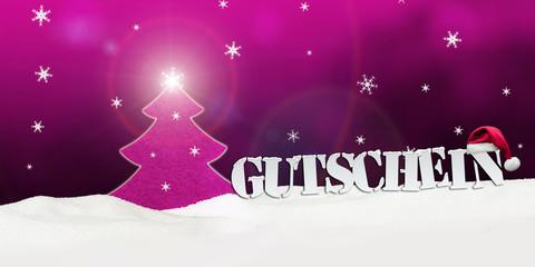 Christmas voucher Gutschein tree snow pink