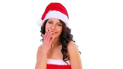 Woman in Santa hat.