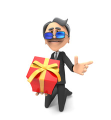 3d Business Man with gift box
