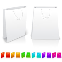 Set of isolated paper bags on white background. With different