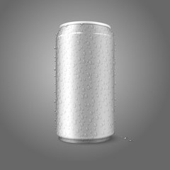 Blank vector aluminium can with condensated water drops on it.