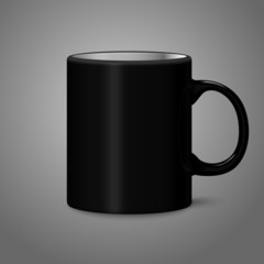 Blank black photo realistic isolated on gray cup, for branding