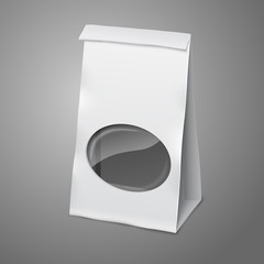 Blank white vector realistic paper packaging bag with