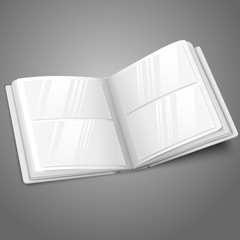 Blank white vector opened photo album for your messages, design