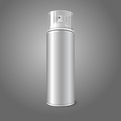 Blank vector aerosol spray metal 3D bottle can with transparent