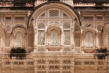 Ornated stone windows at Mehrangarh Fort, Jodhpur, India