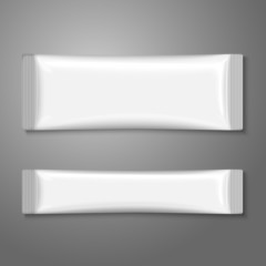 Blank white plastic stick pack for coffee, sugar, salt, spices.