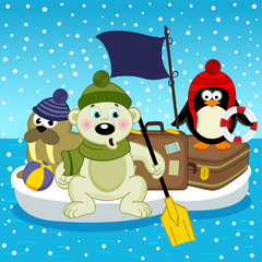 polar bear walrus penguin travel on floe - vector, eps