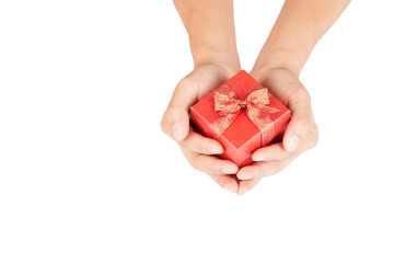 Man hands hold red gift box