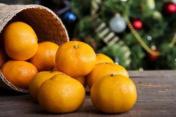 tangerines on Christmas table