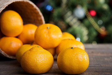 tangerines on Christmas table