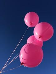 Palloncini rosa cielo blu, compleanno festa biglietto