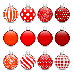 Christmas Balls Pattern Red/Silver