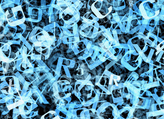chaotic flying of many abstract blue alphabet letters