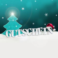 Christmas voucher Gutschein tree snow turquoise