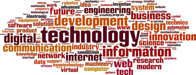 Technology word cloud concept. Vector illustration