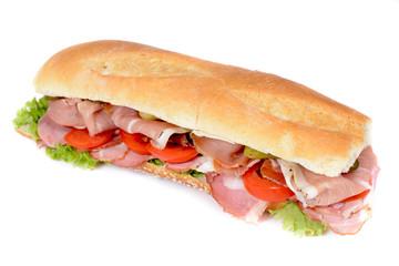 Prosciutto sandwich isolated