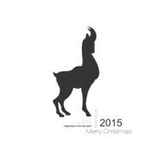 Vector goat symbol with black profile silhouette of a long