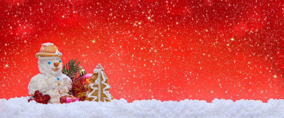 Christmas decoration and snowman.
