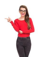 Smiling nerd girl pointing