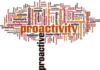 Proactivity word cloud concept. Vector illustration