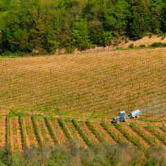 Field engine in the vineyard