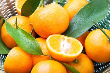 Ripe tangerines in the basket.
