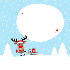 Rudolph Sleigh Gift Speechbubble Snow Blue