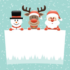 Snowman, Rudolph & Santa Wishlist Snow Retro
