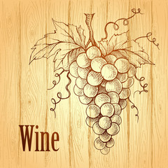 Bunch of grapes on wood background. Wine lable
