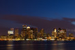 Boston skyline by night from East Boston, Massachusetts  - USA