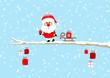 Card Santa Glasses Sleigh Gift Tree Blue