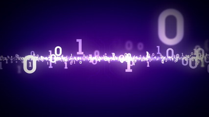 Binary Numbers Zooming Purple