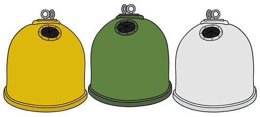 Hand drawing of three recycling containers