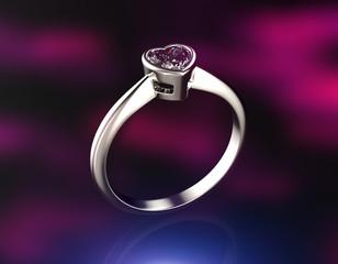 Golden wedding Rings with Diamond heart shape.
