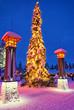 Leinwanddruck Bild - Christmas tree in Santa Claus village at Arctic Circle near Rova