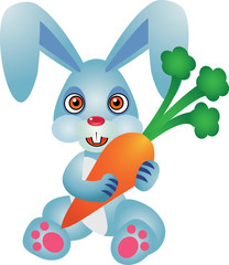 Cute Rabbit Vector Illustration With Carrot