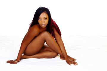 Young African American Woman Sitting Implied Nude