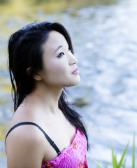 Young Attractive Japanese American Woman Outdoor Portrait
