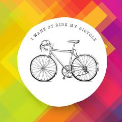 Vintage bicycle illustration on colorful background