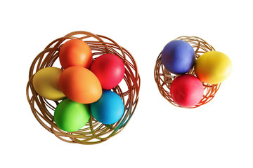 Easter eggs in two wicker baskets