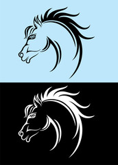 Horse head, tribal art vector decoration