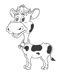 Black and white Cow Cartoon