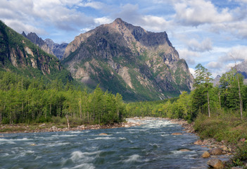 River Middle Sakukan in Kodar Mountains in Siberia