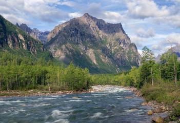 River Middle Sakukan in Kodar Mountains in Siberia