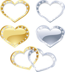 Set of gold and silver heart