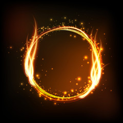 Dark background with shiny round frame with flame