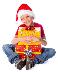 Boy with Christmas gift box