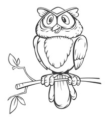 Black and white Owl Cartoon
